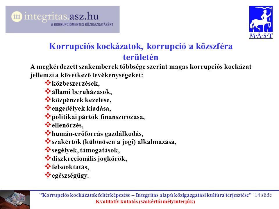 """""""Korrupciós kockázatok feltérképezése – Integritás alapú közigazgatási kultúra terjesztése"""" Kvalitatív kutatás (szakértői mélyinterjúk) 14 slide Korru"""