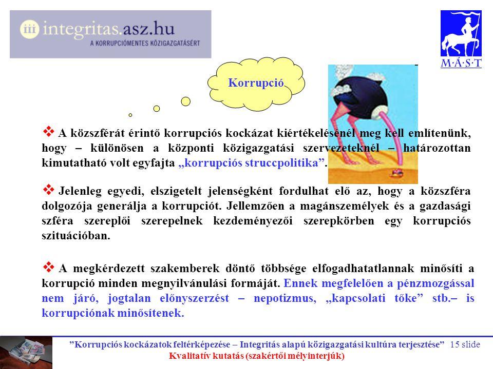 """""""Korrupciós kockázatok feltérképezése – Integritás alapú közigazgatási kultúra terjesztése"""" Kvalitatív kutatás (szakértői mélyinterjúk) 15 slide  A k"""