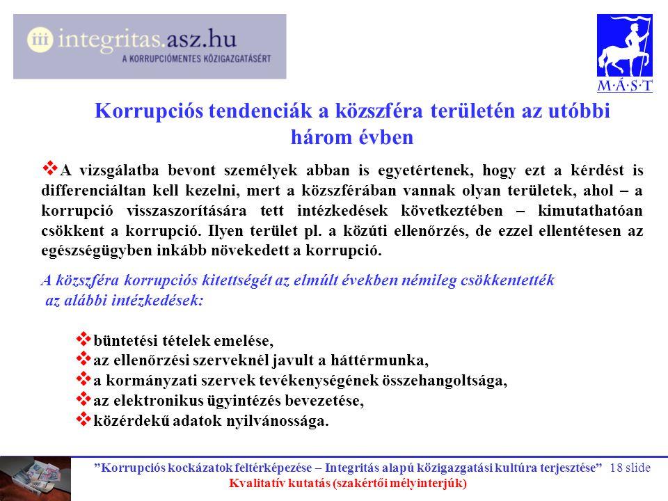 """""""Korrupciós kockázatok feltérképezése – Integritás alapú közigazgatási kultúra terjesztése"""" Kvalitatív kutatás (szakértői mélyinterjúk) 18 slide Korru"""