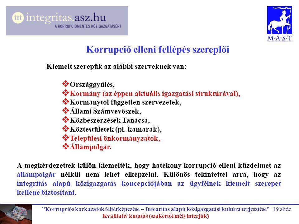 """""""Korrupciós kockázatok feltérképezése – Integritás alapú közigazgatási kultúra terjesztése"""" Kvalitatív kutatás (szakértői mélyinterjúk) 19 slide Korru"""