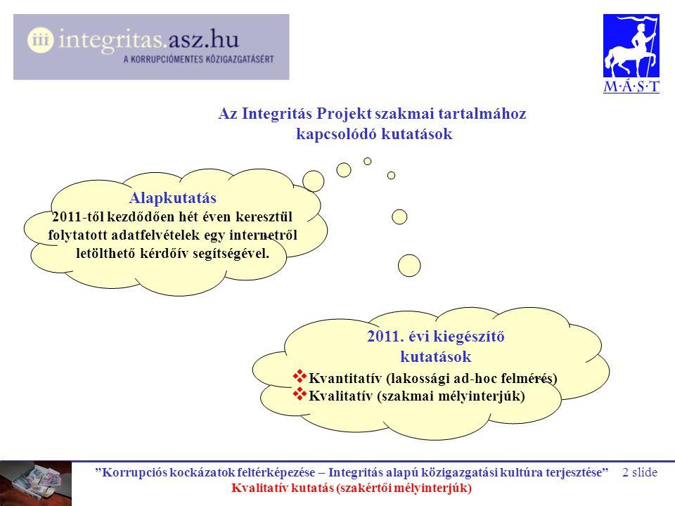 """""""Korrupciós kockázatok feltérképezése – Integritás alapú közigazgatási kultúra terjesztése"""" Kvalitatív kutatás (szakértői mélyinterjúk) 2 slide Az Int"""