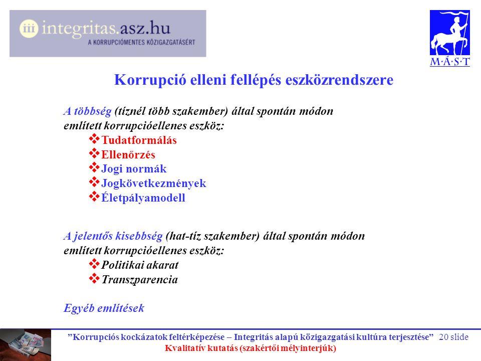 """""""Korrupciós kockázatok feltérképezése – Integritás alapú közigazgatási kultúra terjesztése"""" Kvalitatív kutatás (szakértői mélyinterjúk) 20 slide Korru"""