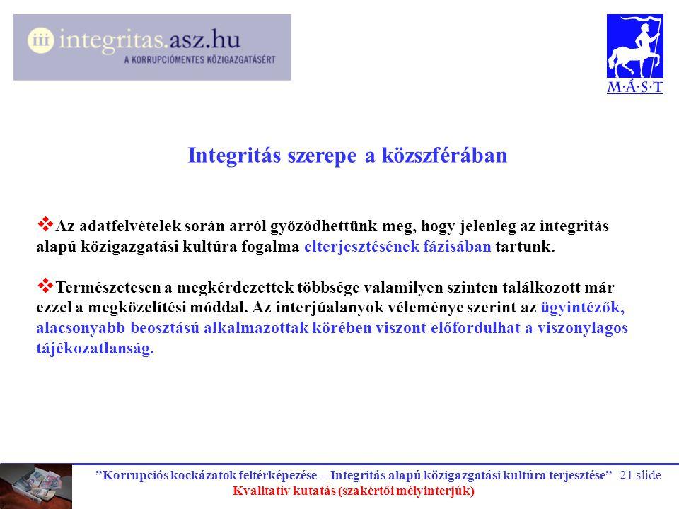 """""""Korrupciós kockázatok feltérképezése – Integritás alapú közigazgatási kultúra terjesztése"""" Kvalitatív kutatás (szakértői mélyinterjúk) 21 slide Integ"""