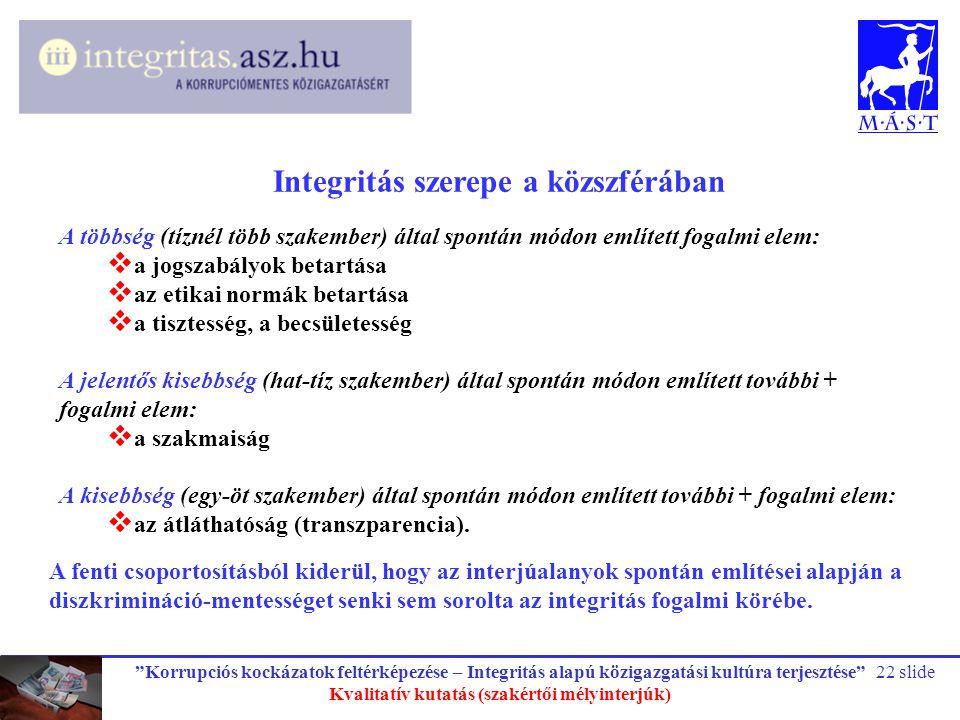 """""""Korrupciós kockázatok feltérképezése – Integritás alapú közigazgatási kultúra terjesztése"""" Kvalitatív kutatás (szakértői mélyinterjúk) 22 slide Integ"""