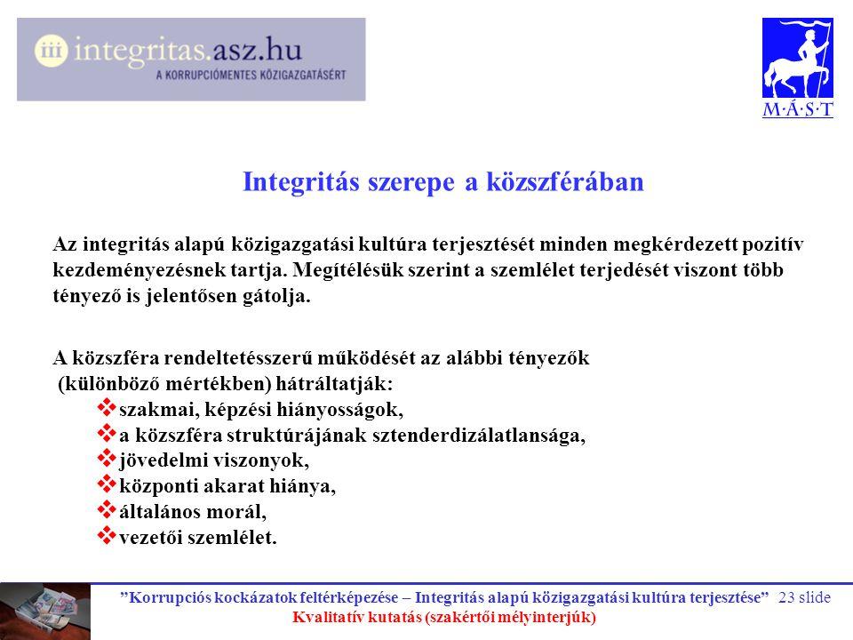 """""""Korrupciós kockázatok feltérképezése – Integritás alapú közigazgatási kultúra terjesztése"""" Kvalitatív kutatás (szakértői mélyinterjúk) 23 slide A köz"""