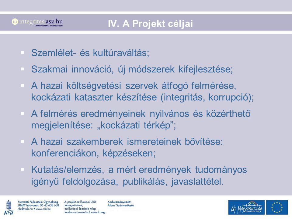 IV. A Projekt céljai  Szemlélet- és kultúraváltás;  Szakmai innováció, új módszerek kifejlesztése;  A hazai költségvetési szervek átfogó felmérése,