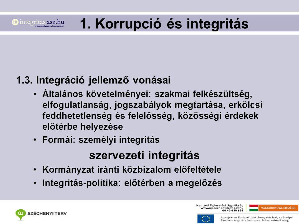 1. Korrupció és integritás 1.3. Integráció jellemző vonásai Általános követelményei: szakmai felkészültség, elfogulatlanság, jogszabályok megtartása,