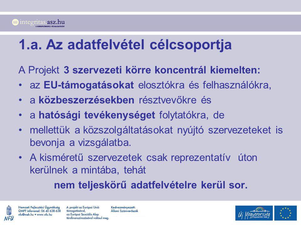 1.a. Az adatfelvétel célcsoportja A Projekt 3 szervezeti körre koncentrál kiemelten: az EU-támogatásokat elosztókra és felhasználókra, a közbeszerzése