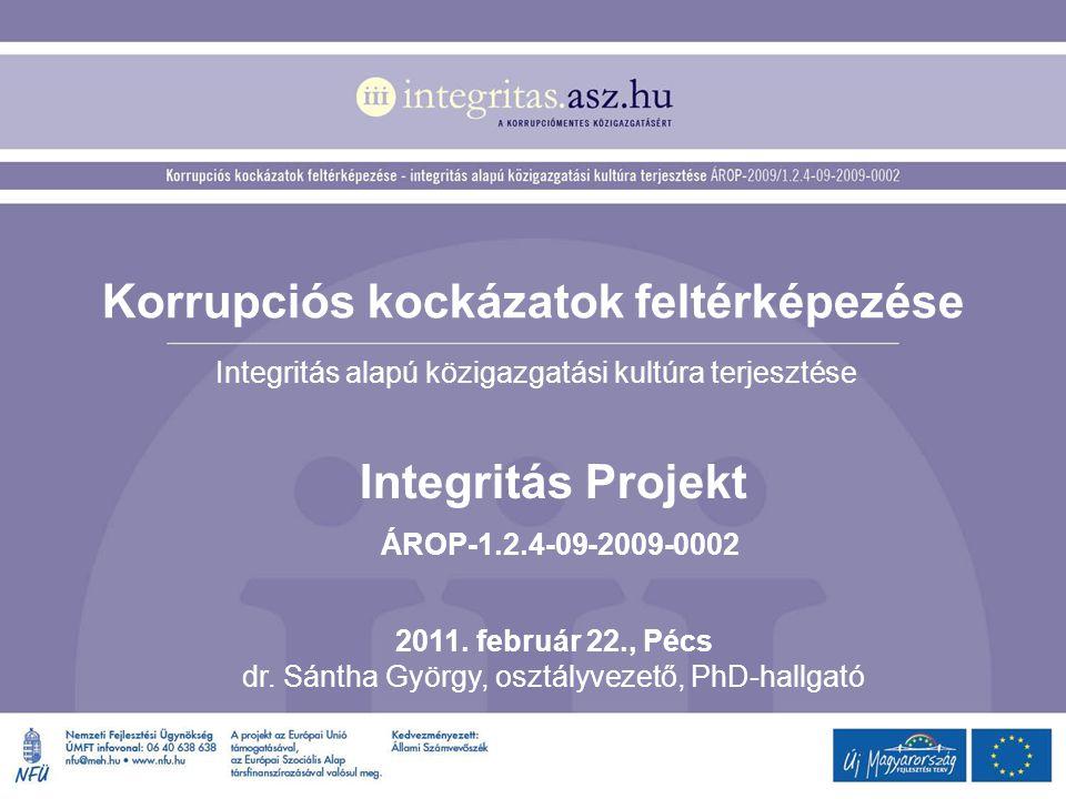 Korrupciós kockázatok feltérképezése Integritás alapú közigazgatási kultúra terjesztése Integritás Projekt ÁROP-1.2.4-09-2009-0002 2011. február 22.,