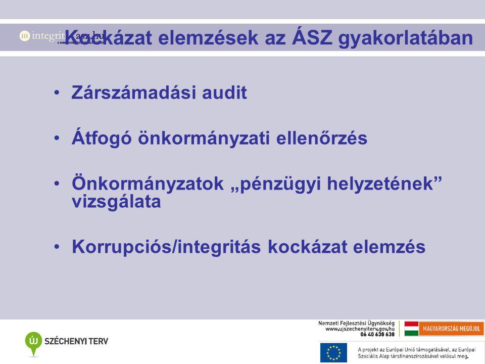"""Kockázat elemzések az ÁSZ gyakorlatában Zárszámadási audit Átfogó önkormányzati ellenőrzés Önkormányzatok """"pénzügyi helyzetének vizsgálata Korrupciós/integritás kockázat elemzés"""