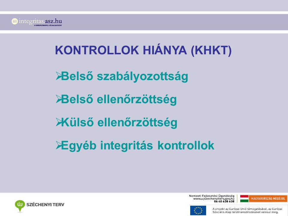 KONTROLLOK HIÁNYA (KHKT)  Belső szabályozottság  Belső ellenőrzöttség  Külső ellenőrzöttség  Egyéb integritás kontrollok