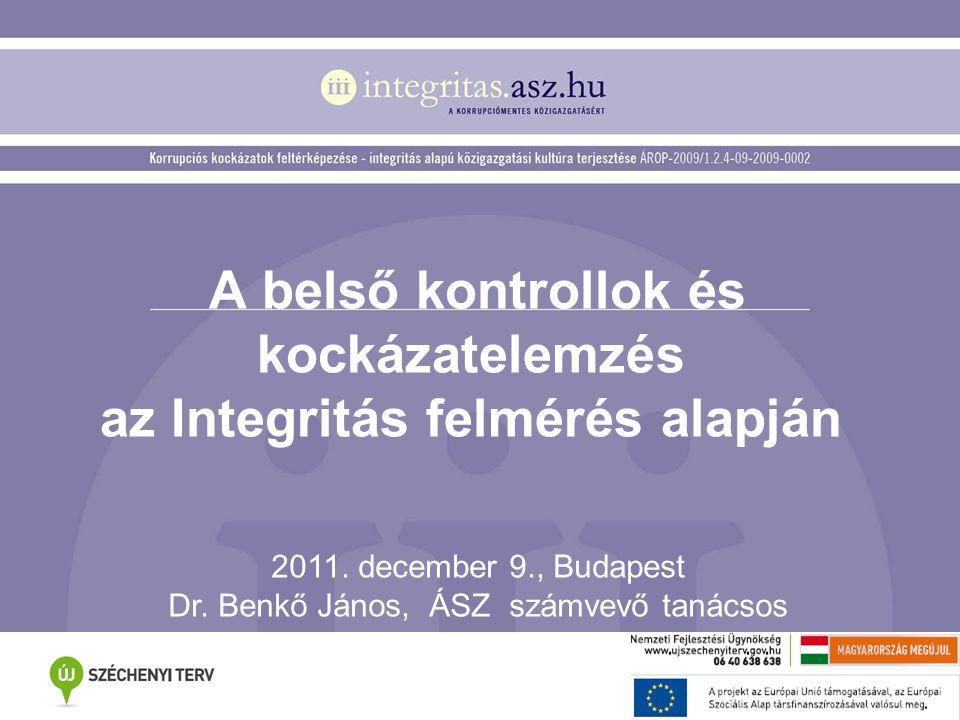 A belső kontrollok és kockázatelemzés az Integritás felmérés alapján 2011. december 9., Budapest Dr. Benkő János, ÁSZ számvevő tanácsos
