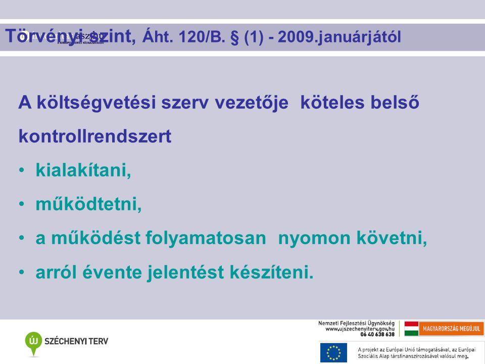 Törvényi szint, Áht. 120/B. § (1) - 2009.januárjától A költségvetési szerv vezetője köteles belső kontrollrendszert kialakítani, működtetni, a működés