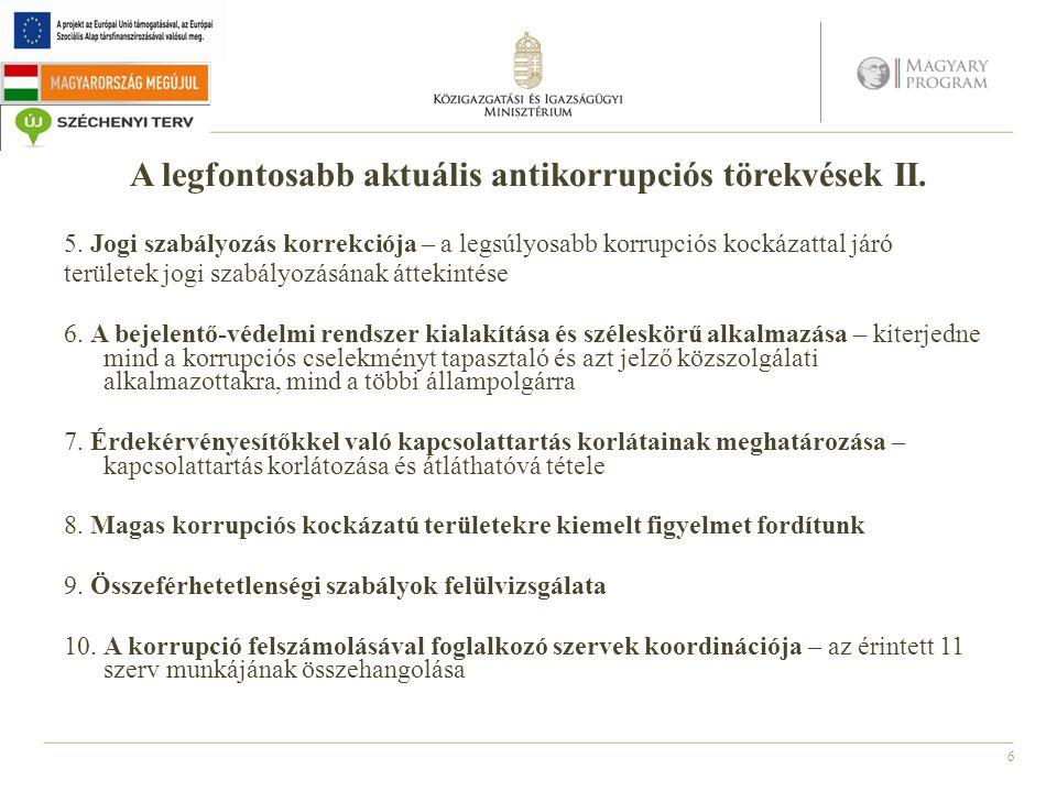6 A legfontosabb aktuális antikorrupciós törekvések II. 5. Jogi szabályozás korrekciója – a legsúlyosabb korrupciós kockázattal járó területek jogi sz