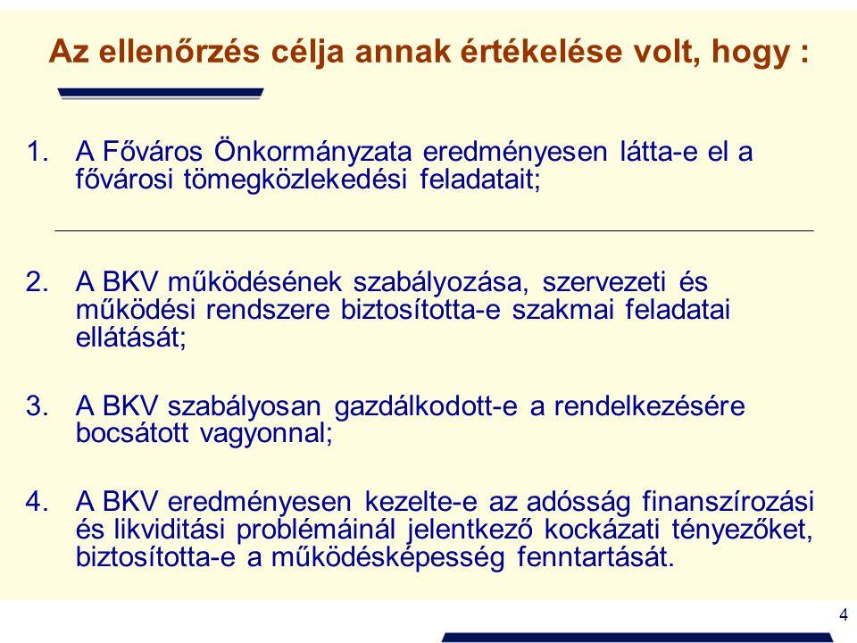 4 Az ellenőrzés célja annak értékelése volt, hogy : 1.A Főváros Önkormányzata eredményesen látta-e el a fővárosi tömegközlekedési feladatait; 2.A BKV működésének szabályozása, szervezeti és működési rendszere biztosította-e szakmai feladatai ellátását; 3.A BKV szabályosan gazdálkodott-e a rendelkezésére bocsátott vagyonnal; 4.A BKV eredményesen kezelte-e az adósság finanszírozási és likviditási problémáinál jelentkező kockázati tényezőket, biztosította-e a működésképesség fenntartását.
