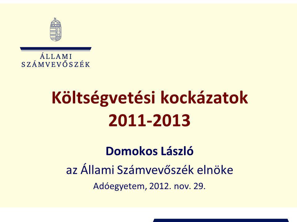 Költségvetési kockázatok 2011-2013 Domokos László az Állami Számvevőszék elnöke Adóegyetem, 2012.