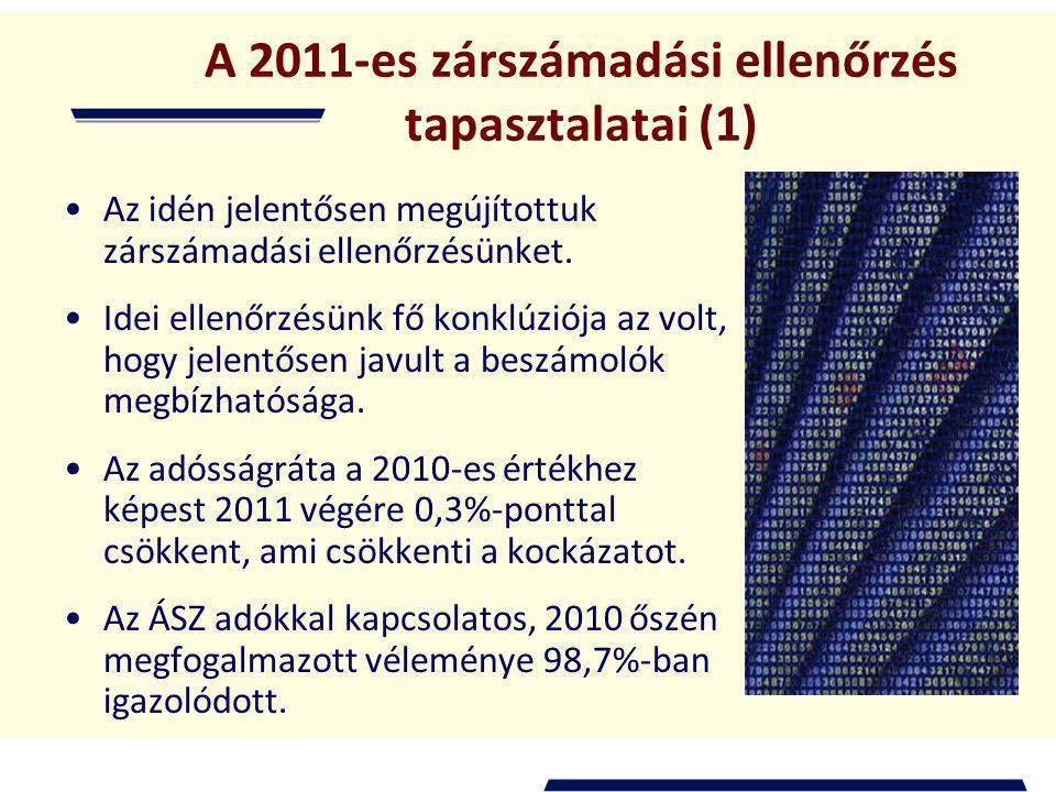 A 2011-es zárszámadási ellenőrzés tapasztalatai (1) Az idén jelentősen megújítottuk zárszámadási ellenőrzésünket.