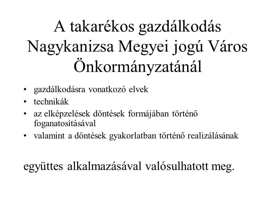 Nagykanizsa Megyei Jogú Város Önkormányzata takarékosabb gazdálkodása érdekében 2007-2011.