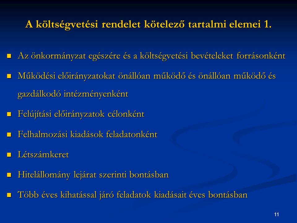 11 A költségvetési rendelet kötelező tartalmi elemei 1.