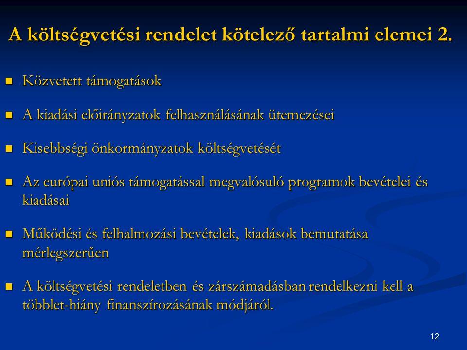 12 A költségvetési rendelet kötelező tartalmi elemei 2.