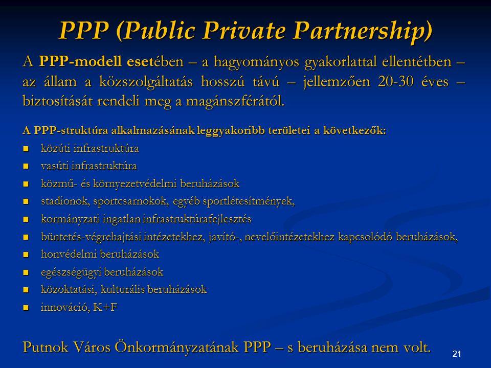 21 PPP (Public Private Partnership) A PPP-modell esetében – a hagyományos gyakorlattal ellentétben – az állam a közszolgáltatás hosszú távú – jellemzően 20-30 éves – biztosítását rendeli meg a magánszférától.