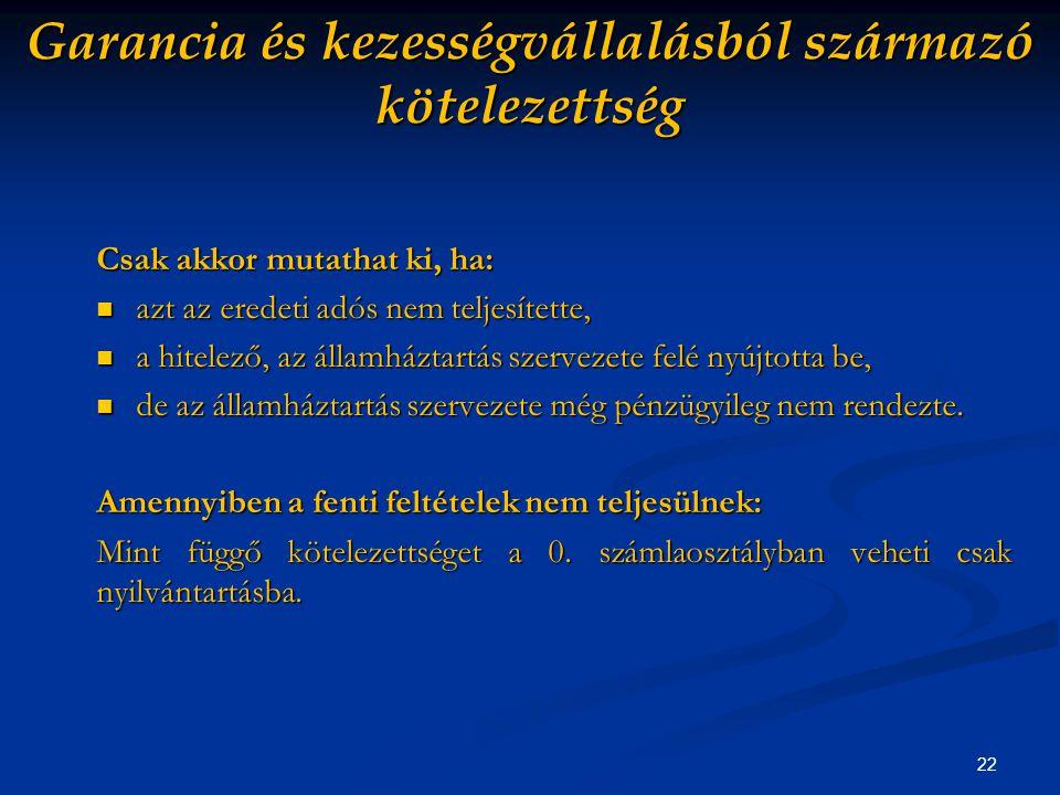 22 Garancia és kezességvállalásból származó kötelezettség Csak akkor mutathat ki, ha: azt az eredeti adós nem teljesítette, azt az eredeti adós nem teljesítette, a hitelező, az államháztartás szervezete felé nyújtotta be, a hitelező, az államháztartás szervezete felé nyújtotta be, de az államháztartás szervezete még pénzügyileg nem rendezte.