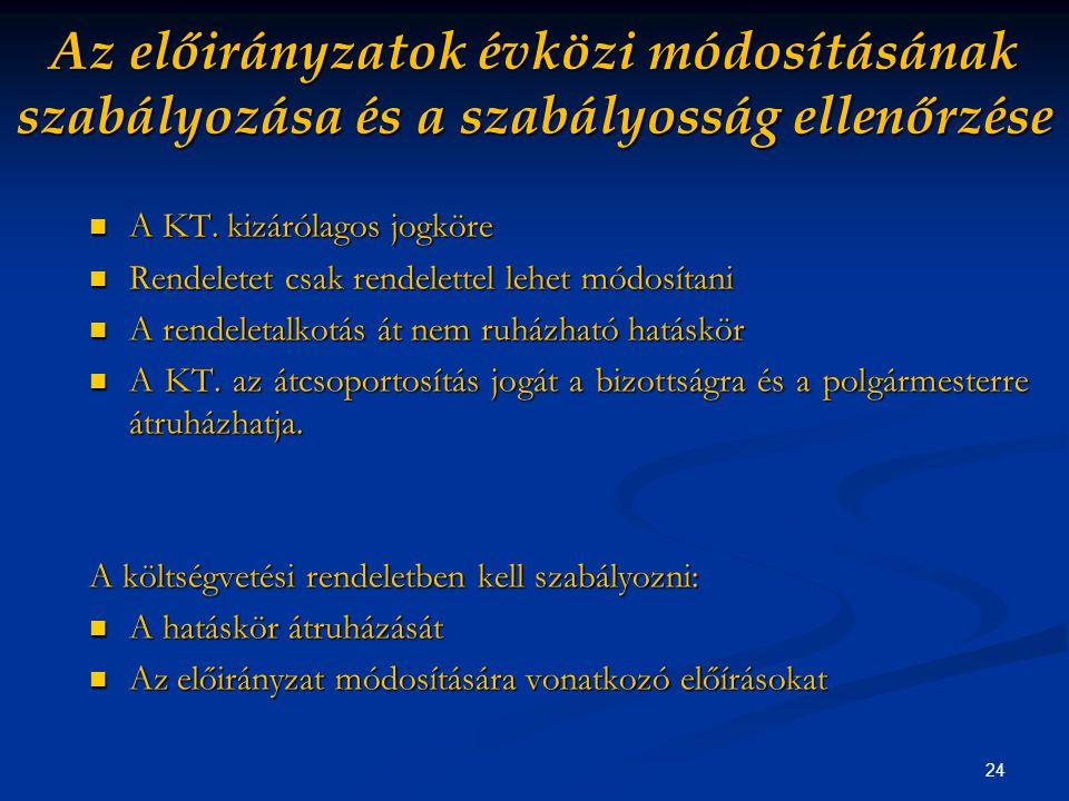 24 Az előirányzatok évközi módosításának szabályozása és a szabályosság ellenőrzése A KT.