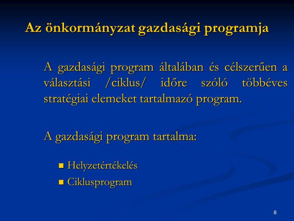 8 Az önkormányzat gazdasági programja A gazdasági program általában és célszerűen a választási /ciklus/ időre szóló többéves stratégiai elemeket tartalmazó program.