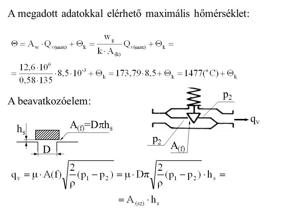A megadott adatokkal elérhető maximális hőmérséklet: A beavatkozóelem: qvqv p2p2 p2p2 A (f) hshs D A (f) =D  h s