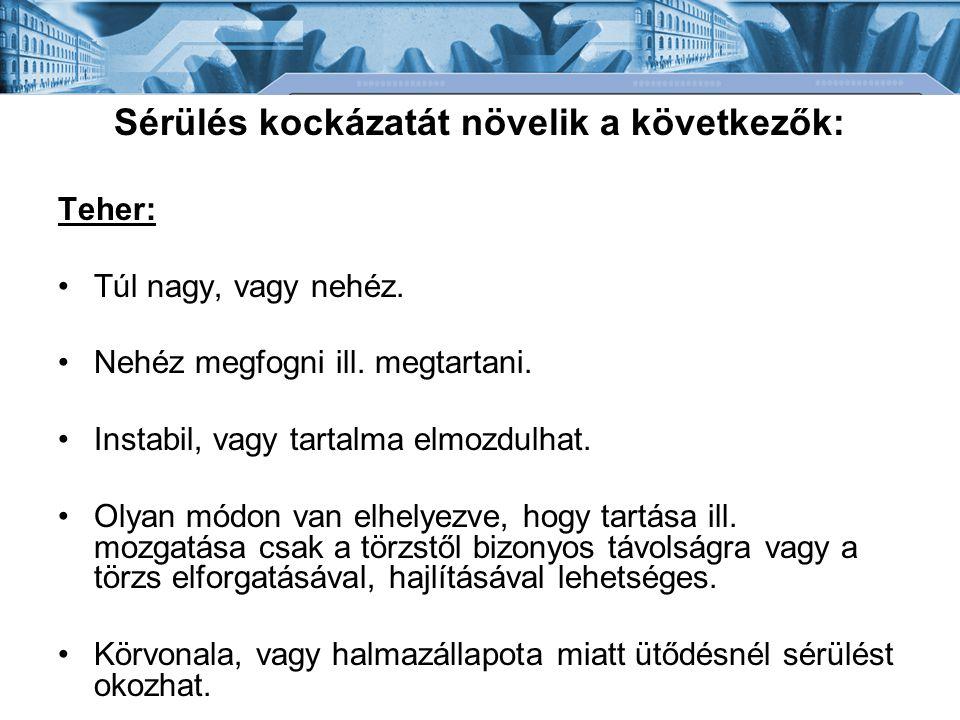 Bánki Donát Gépész és Biztonságtechnikai Mérnöki Kar Mechatronikai és Autótechnikai Intézet Munkakörnyezet: - Nincs elég hely (főként függőleges irányban) a teher mozgatására.
