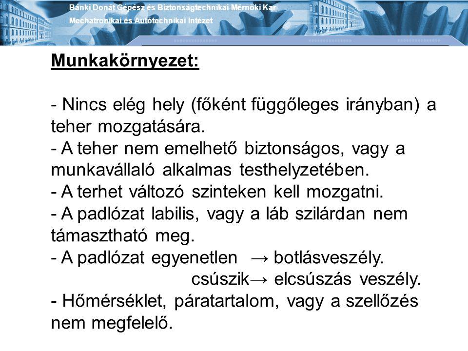 Bánki Donát Gépész és Biztonságtechnikai Mérnöki Kar Mechatronikai és Autótechnikai Intézet Munkakörnyezet: - Nincs elég hely (főként függőleges irány