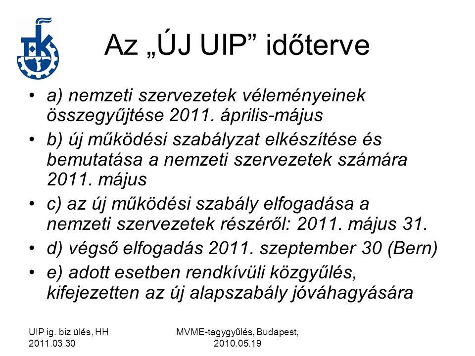 """UIP ig. biz ülés, HH 2011.03.30 MVME-tagygyűlés, Budapest, 2010.05.19 Az """"ÚJ UIP"""" időterve a) nemzeti szervezetek véleményeinek összegyűjtése 2011. áp"""