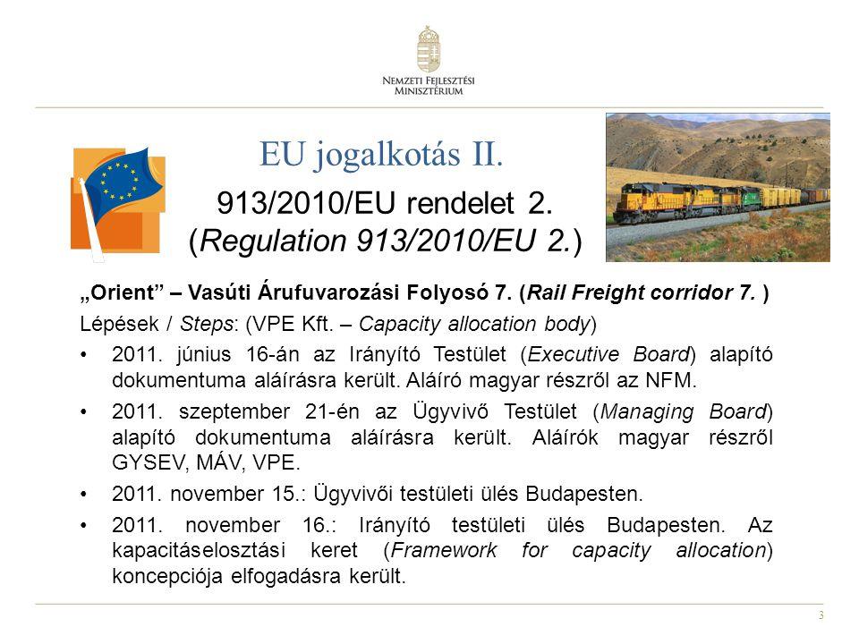"""3 EU jogalkotás II. 913/2010/EU rendelet 2. (Regulation 913/2010/EU 2.) """"Orient"""" – Vasúti Árufuvarozási Folyosó 7. (Rail Freight corridor 7. ) Lépések"""
