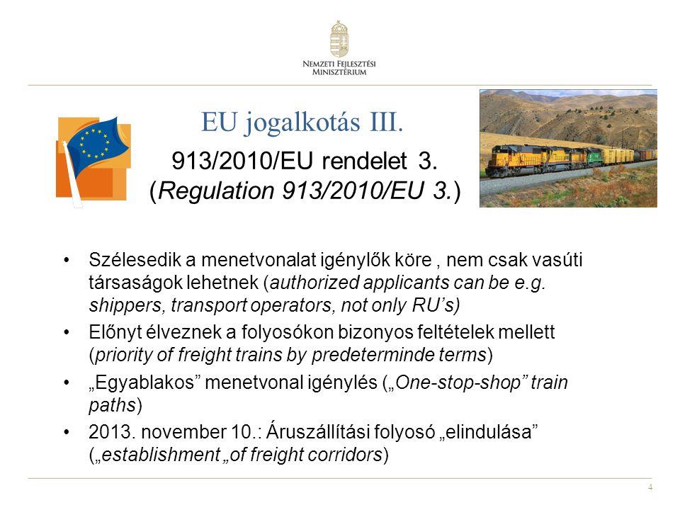 4 EU jogalkotás III. 913/2010/EU rendelet 3. (Regulation 913/2010/EU 3.) Szélesedik a menetvonalat igénylők köre, nem csak vasúti társaságok lehetnek