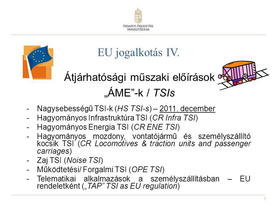 """5 EU jogalkotás IV. Átjárhatósági műszaki előírások """"ÁME""""-k / TSIs -Nagysebességű TSI-k (HS TSI-s) – 2011. december -Hagyományos Infrastruktúra TSI (C"""