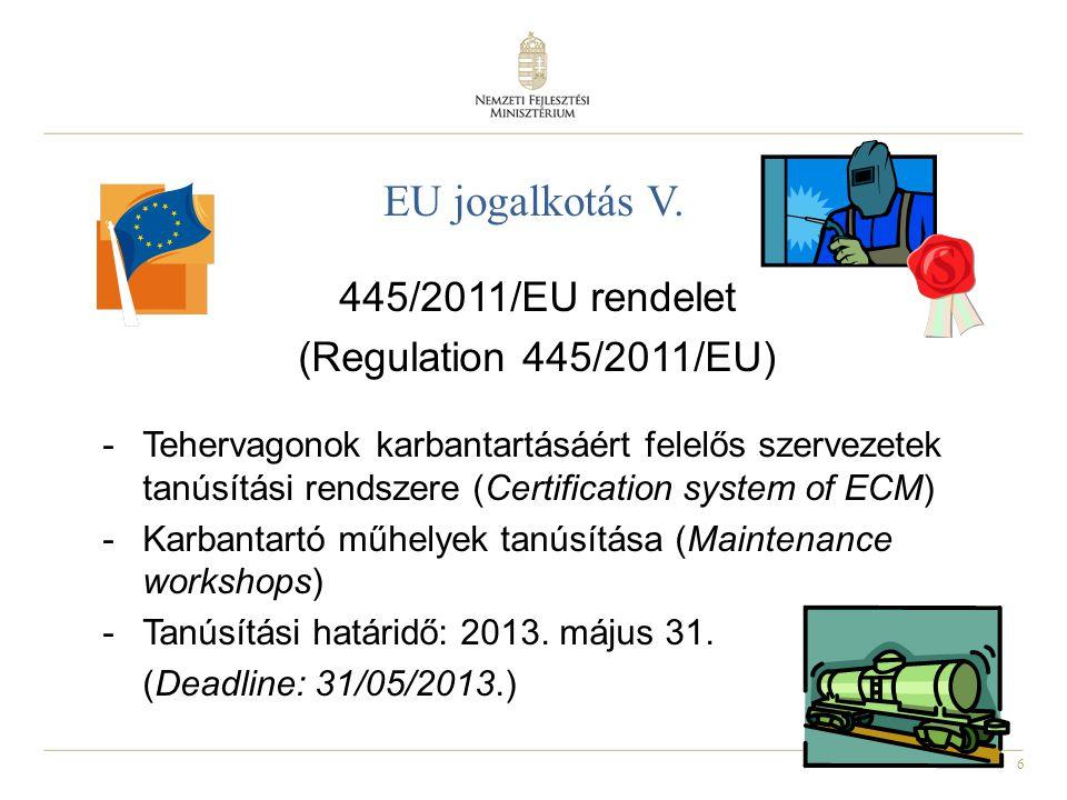 6 EU jogalkotás V. 445/2011/EU rendelet (Regulation 445/2011/EU) -Tehervagonok karbantartásáért felelős szervezetek tanúsítási rendszere (Certificatio