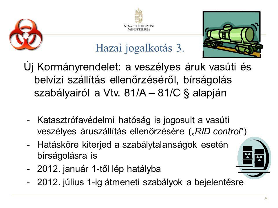 """10 Hazai jogalkotás -Vasúti bírságról szóló Kormányrendelet – NKH jogköre teljessé válik (~2011 december - 2012 január) -Vasúti igazgatási-szolgáltatási díjrendelet módosítása / kiegészítése az új jogszabályok miatt az eljárások díjaival (~2011 december - 2012 január -Vasúti építmények engedélyezéséről szóló új Kormányrendelet (~2012 június) -Vasúti karbantartó és vizsgaműhelyekről szóló NFM rendelet (2012 ősz) """"Előkészületben – NFM: UNDER CONSTRUCTION!"""