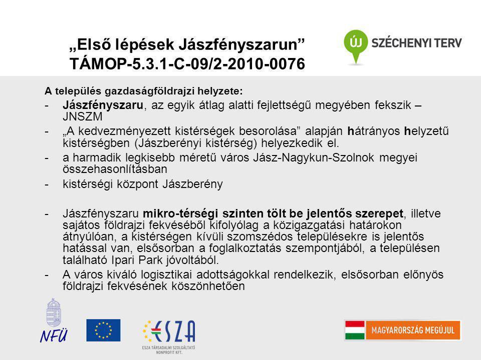 """A település gazdaságföldrajzi helyzete: -Jászfényszaru, az egyik átlag alatti fejlettségű megyében fekszik – JNSZM -""""A kedvezményezett kistérségek besorolása alapján hátrányos helyzetű kistérségben (Jászberényi kistérség) helyezkedik el."""