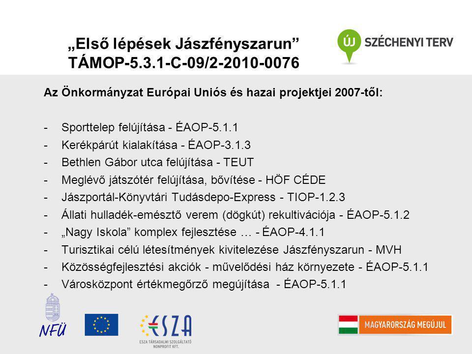 """""""Első lépések Jászfényszarun TÁMOP-5.3.1-C-09/2-2010-0076 Az Önkormányzat Európai Uniós és hazai projektjei 2007-től: -Sporttelep felújítása - ÉAOP-5.1.1 -Kerékpárút kialakítása - ÉAOP-3.1.3 -Bethlen Gábor utca felújítása - TEUT -Meglévő játszótér felújítása, bővítése - HÖF CÉDE -Jászportál-Könyvtári Tudásdepo-Express - TIOP-1.2.3 -Állati hulladék-emésztő verem (dögkút) rekultivációja - ÉAOP-5.1.2 -""""Nagy Iskola komplex fejlesztése … - ÉAOP-4.1.1 -Turisztikai célú létesítmények kivitelezése Jászfényszarun - MVH -Közösségfejlesztési akciók - művelődési ház környezete - ÉAOP-5.1.1 -Városközpont értékmegőrző megújítása - ÉAOP-5.1.1"""