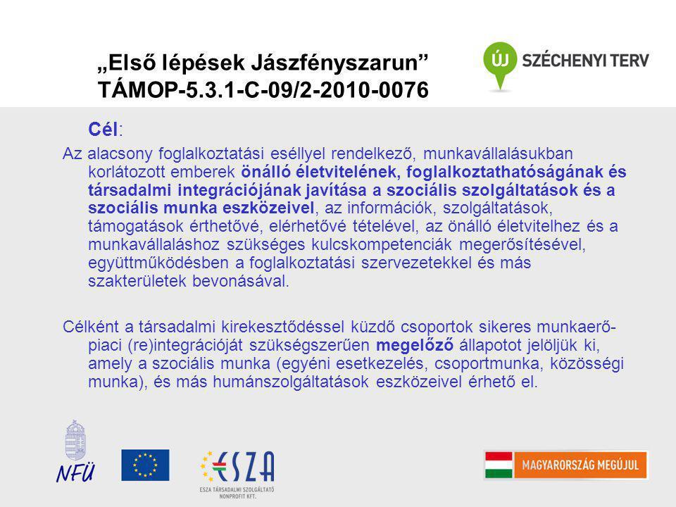"""""""Első lépések Jászfényszarun TÁMOP-5.3.1-C-09/2-2010-0076 Cél: Az alacsony foglalkoztatási eséllyel rendelkező, munkavállalásukban korlátozott emberek önálló életvitelének, foglalkoztathatóságának és társadalmi integrációjának javítása a szociális szolgáltatások és a szociális munka eszközeivel, az információk, szolgáltatások, támogatások érthetővé, elérhetővé tételével, az önálló életvitelhez és a munkavállaláshoz szükséges kulcskompetenciák megerősítésével, együttműködésben a foglalkoztatási szervezetekkel és más szakterületek bevonásával."""