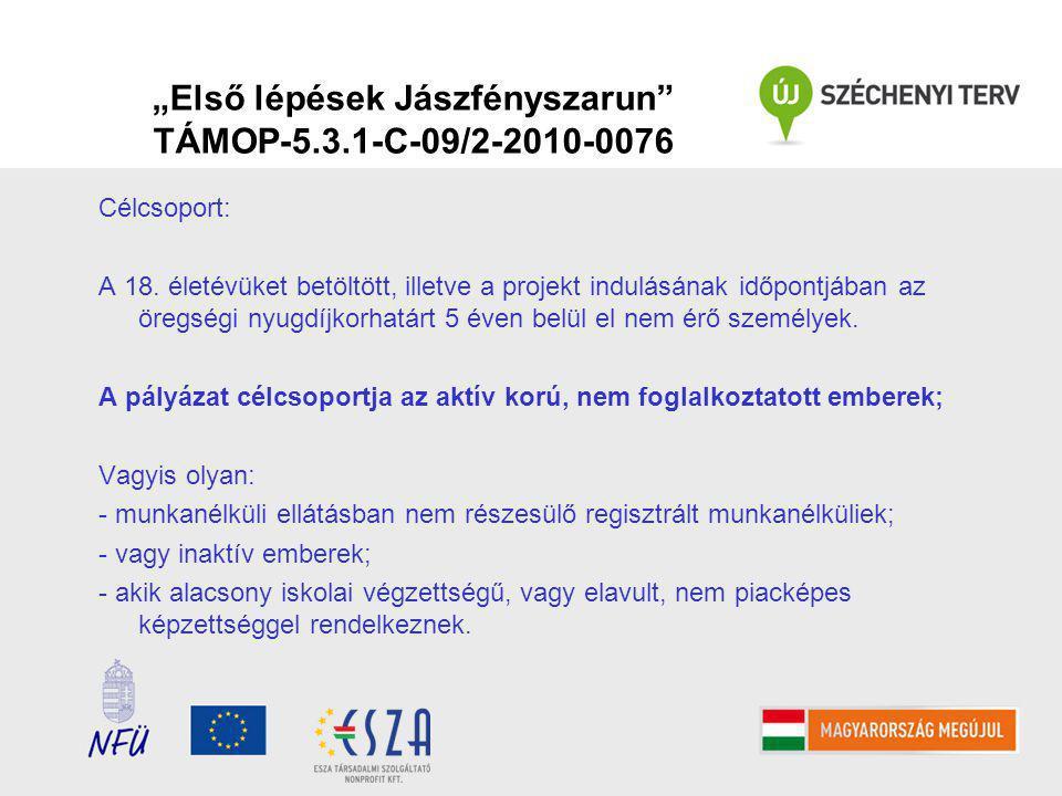 """""""Első lépések Jászfényszarun TÁMOP-5.3.1-C-09/2-2010-0076 Célcsoport: A 18."""