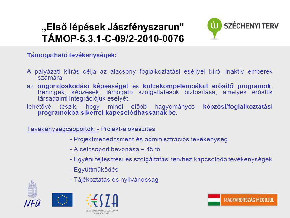 """""""Első lépések Jászfényszarun TÁMOP-5.3.1-C-09/2-2010-0076 Támogatható tevékenységek: A pályázati kiírás célja az alacsony foglalkoztatási eséllyel bíró, inaktív emberek számára az öngondoskodási képességet és kulcskompetenciákat erősítő programok, tréningek, képzések, támogató szolgáltatások biztosítása, amelyek erősítik társadalmi integrációjuk esélyét, lehetővé teszik, hogy minél előbb hagyományos képzési/foglalkoztatási programokba sikerrel kapcsolódhassanak be."""