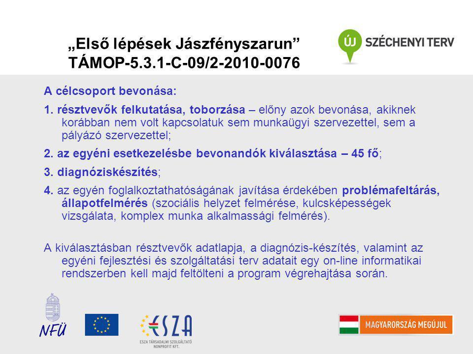 """""""Első lépések Jászfényszarun TÁMOP-5.3.1-C-09/2-2010-0076 A célcsoport bevonása: 1."""