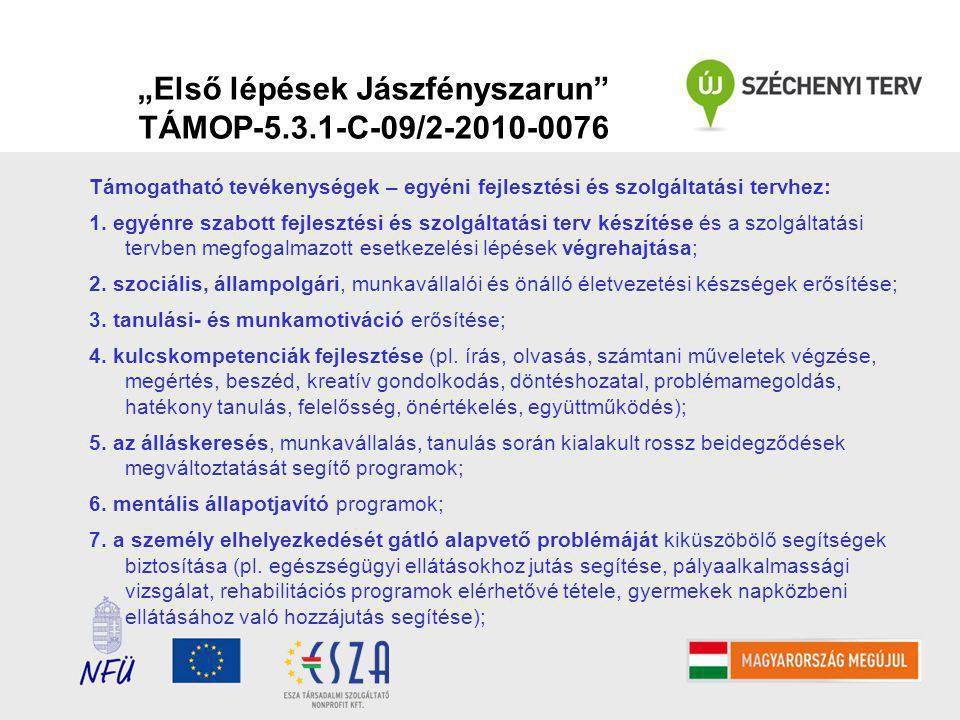 """""""Első lépések Jászfényszarun TÁMOP-5.3.1-C-09/2-2010-0076 Támogatható tevékenységek – egyéni fejlesztési és szolgáltatási tervhez: 1."""