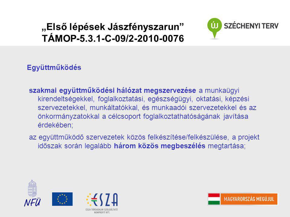 """""""Első lépések Jászfényszarun TÁMOP-5.3.1-C-09/2-2010-0076 Együttműködés szakmai együttműködési hálózat megszervezése a munkaügyi kirendeltségekkel, foglalkoztatási, egészségügyi, oktatási, képzési szervezetekkel, munkáltatókkal, és munkaadói szervezetekkel és az önkormányzatokkal a célcsoport foglalkoztathatóságának javítása érdekében; az együttműködő szervezetek közös felkészítése/felkészülése, a projekt időszak során legalább három közös megbeszélés megtartása;"""