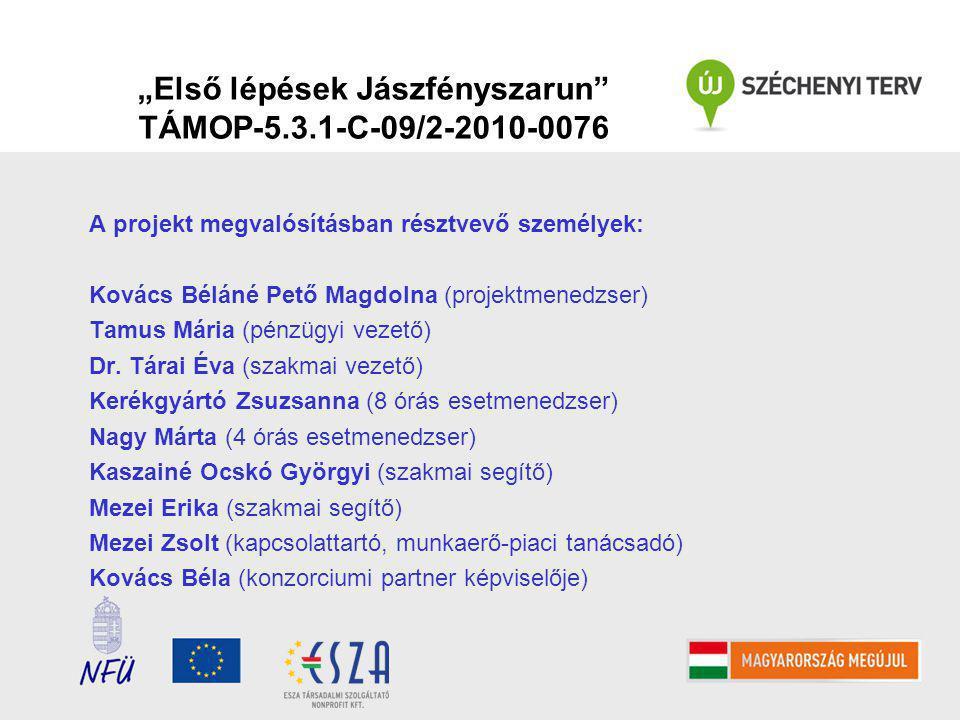 """""""Első lépések Jászfényszarun TÁMOP-5.3.1-C-09/2-2010-0076 A projekt megvalósításban résztvevő személyek: Kovács Béláné Pető Magdolna (projektmenedzser) Tamus Mária (pénzügyi vezető) Dr."""