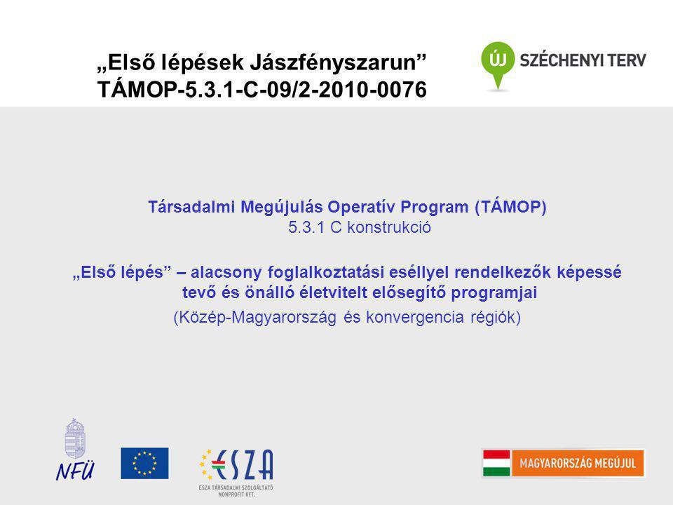 """Társadalmi Megújulás Operatív Program (TÁMOP) 5.3.1 C konstrukció """"Első lépés – alacsony foglalkoztatási eséllyel rendelkezők képessé tevő és önálló életvitelt elősegítő programjai (Közép-Magyarország és konvergencia régiók)"""