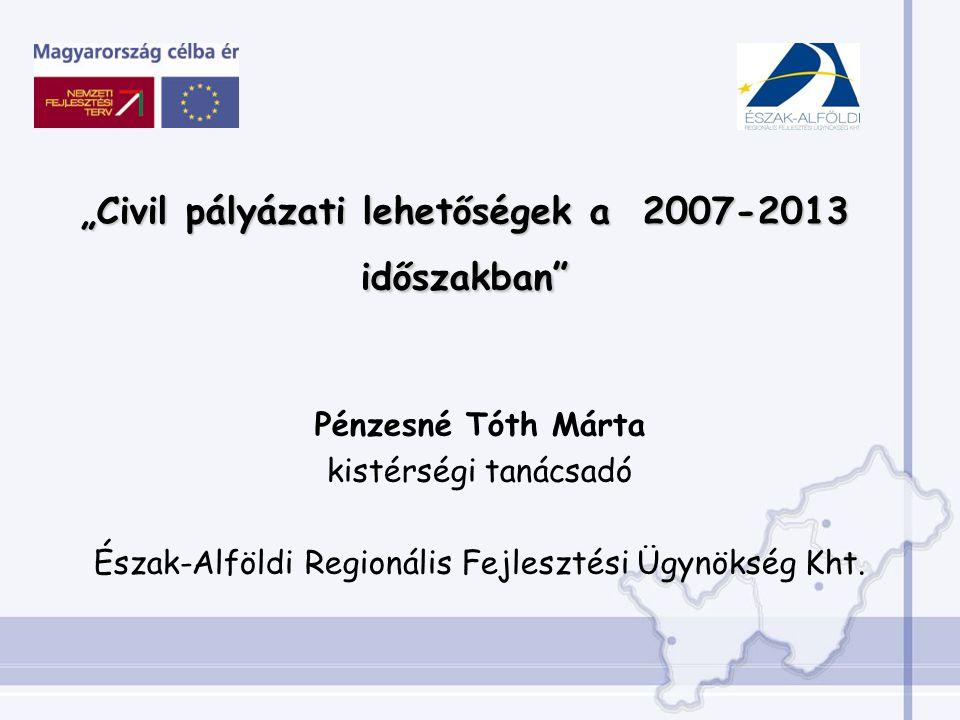 Pénzesné Tóth Márta kistérségi tanácsadó Észak-Alföldi Regionális Fejlesztési Ügynökség Kht.