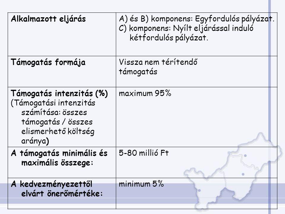 Alkalmazott eljárásA) és B) komponens: Egyfordulós pályázat.