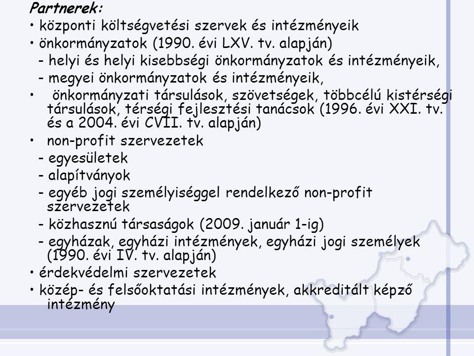 Partnerek: központi költségvetési szervek és intézményeik önkormányzatok (1990.
